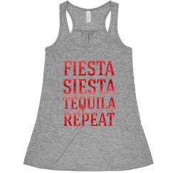 Fiesta Siesta Tequila Repeat Bachelorette tank tops red