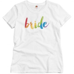 Cute Colorful Bride Text Misses Relax Fit Tee