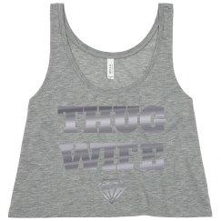 Thug Wife Silver Metallic Wedding Tank Just Married