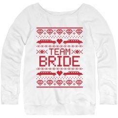 Christmas team bride red sweatshirt.