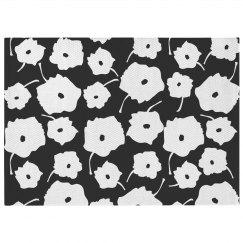 Black & White Poppy Print Rug