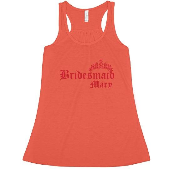 9df7264ffe8c8 Bridesmaid Crown   Name Ladies Flowy Racerback Tank Top