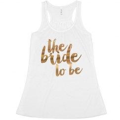 Bride To Be Metallic Text