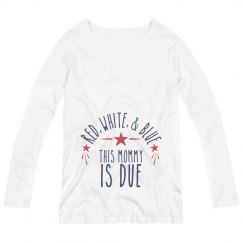Long sleeve Red White Blue Maternity Shirt