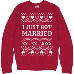 Just Married Heart Ugly Sweater