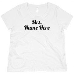Mrs. Custom Metallic Name Plus Size