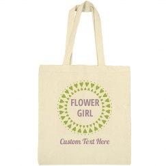 Cute & Custom Flower Girl Heart Tote Bag Gift