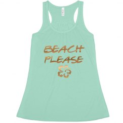Beach Please Bachelorette tank top Gold Foil Print