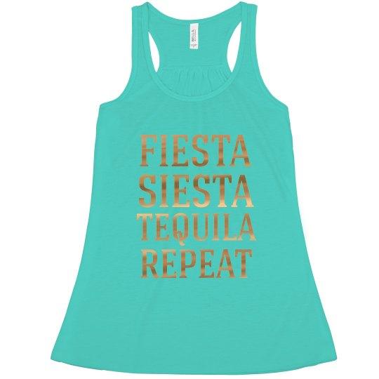 Fiesta Siesta Tequila Repeat Bachelorette tank tops