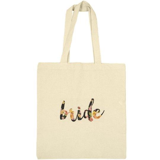 Floral Bride tote bags