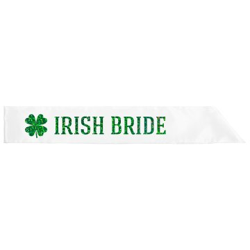 Irish Bride Text Green Glitter