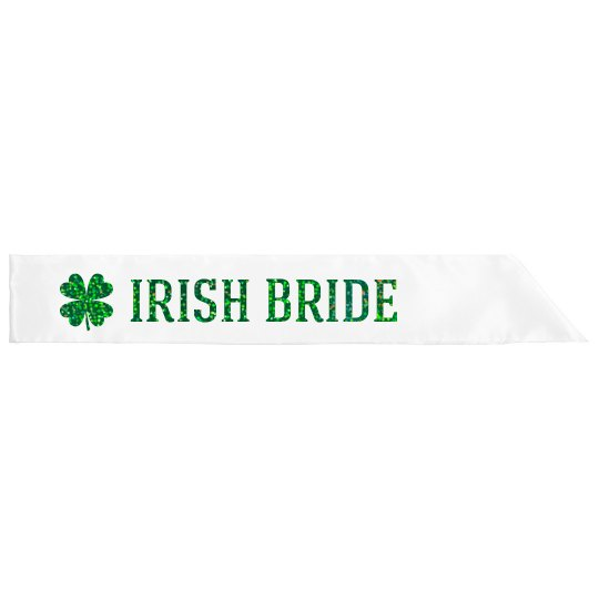 Irish Bride Text Green Glitter