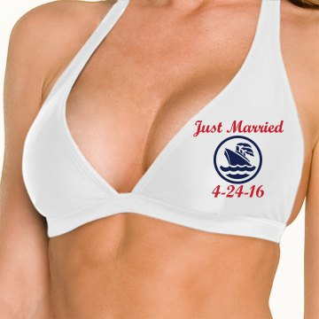 Just Married White Swim Top