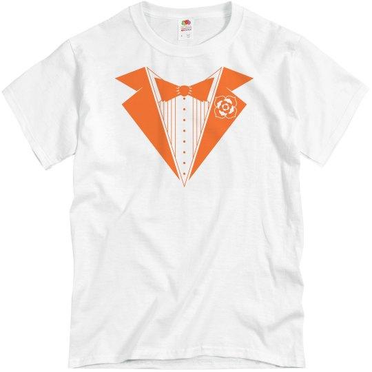 Orange Tuxedo Groom Shirt