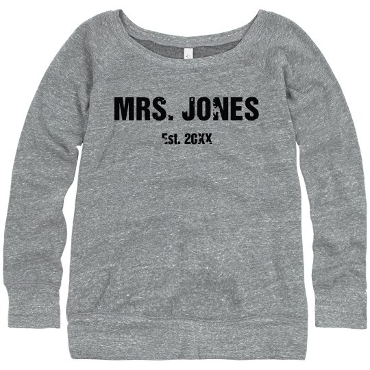 Personalized Mrs. Name Here Wide Neck Sweater
