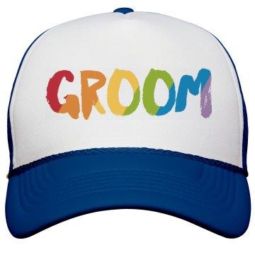Rainbow Text Groom Truck Hat
