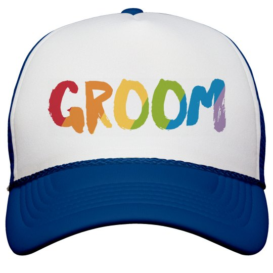 Rainbow Text Groom Truck Hat
