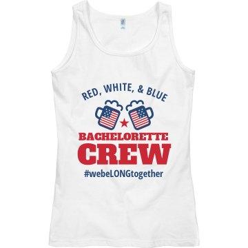 Women's Tank Red, White & Blue Bachelorette Crew w/ #