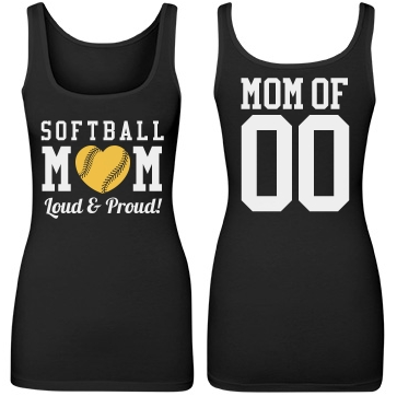 Loud and Proud Softball Mom With Custom Number