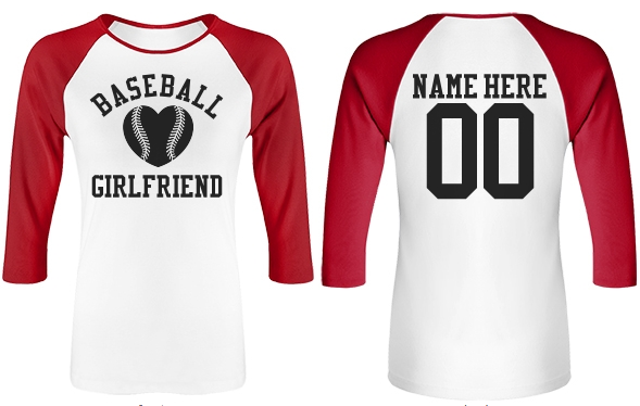 Baseball Girlfriend Tees With Custom Names and Numbers