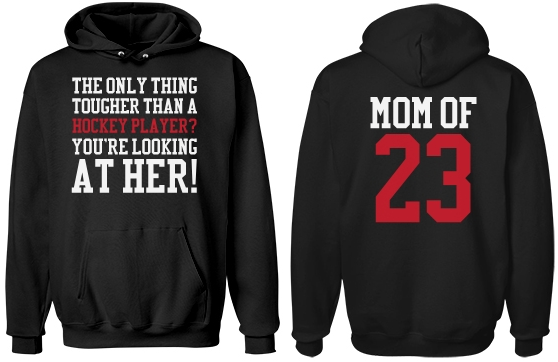 Custom Number Tough Hockey Mom Hoodie