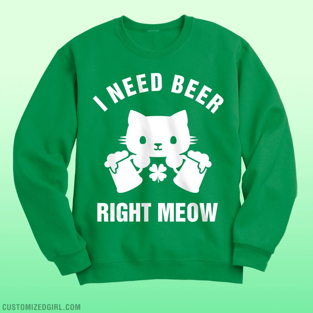 St Patricks Day Cat Green Beer