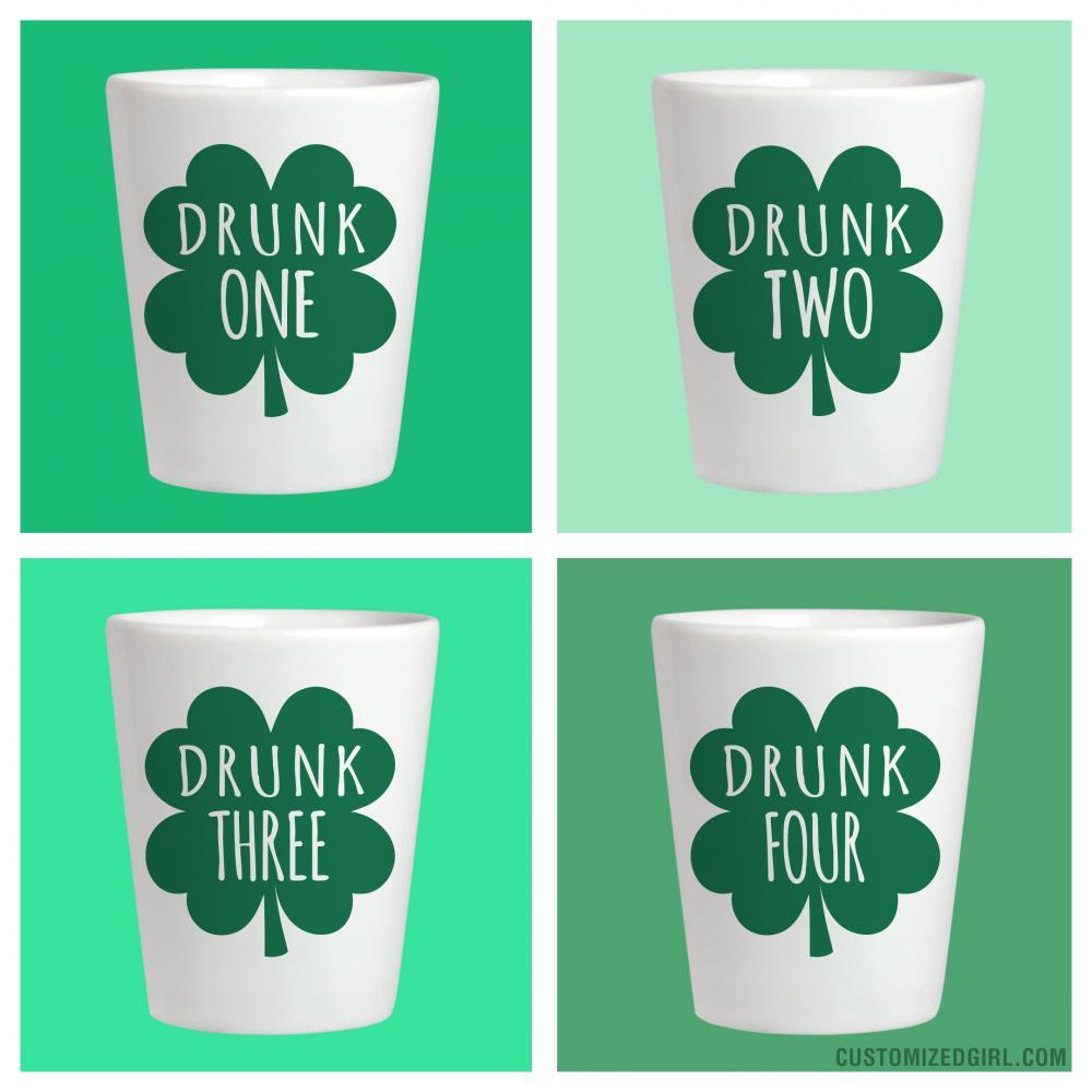 Drunk 1 St Patricks Shot Glass