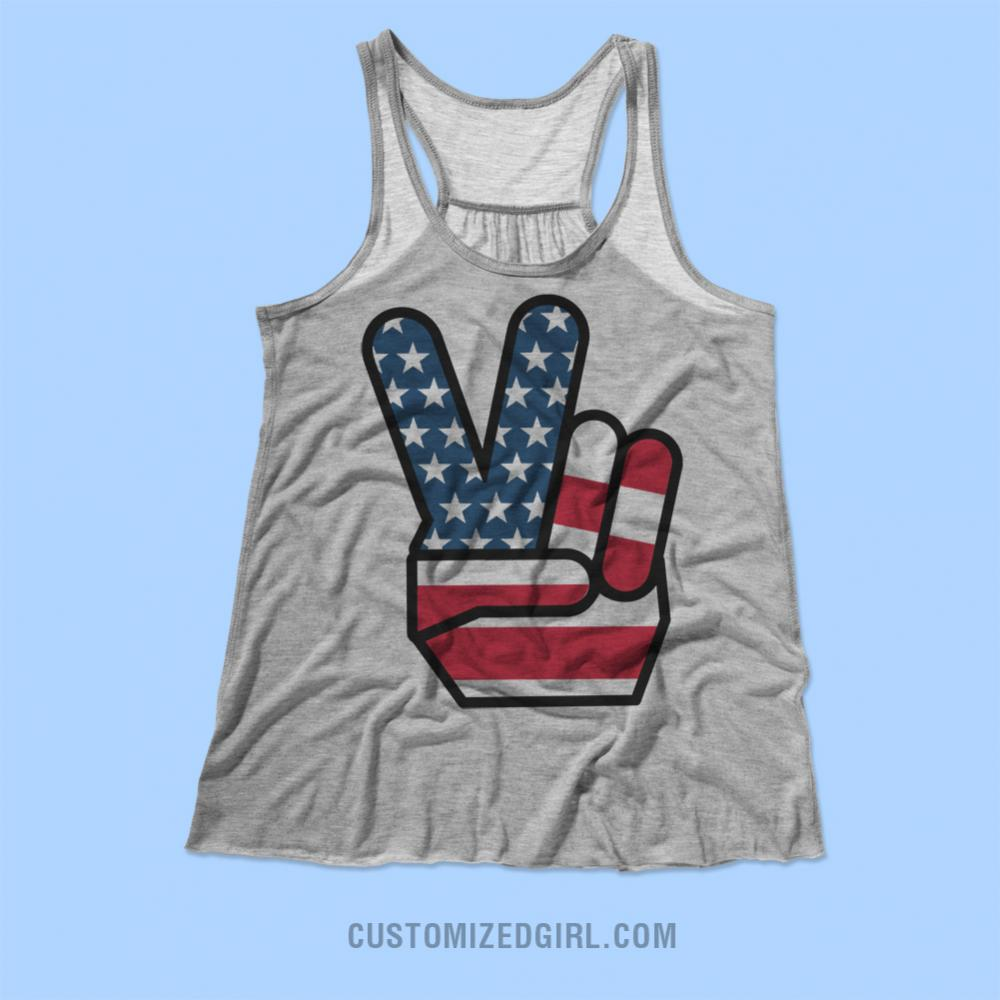 Fourth of July Peace Sign Tank