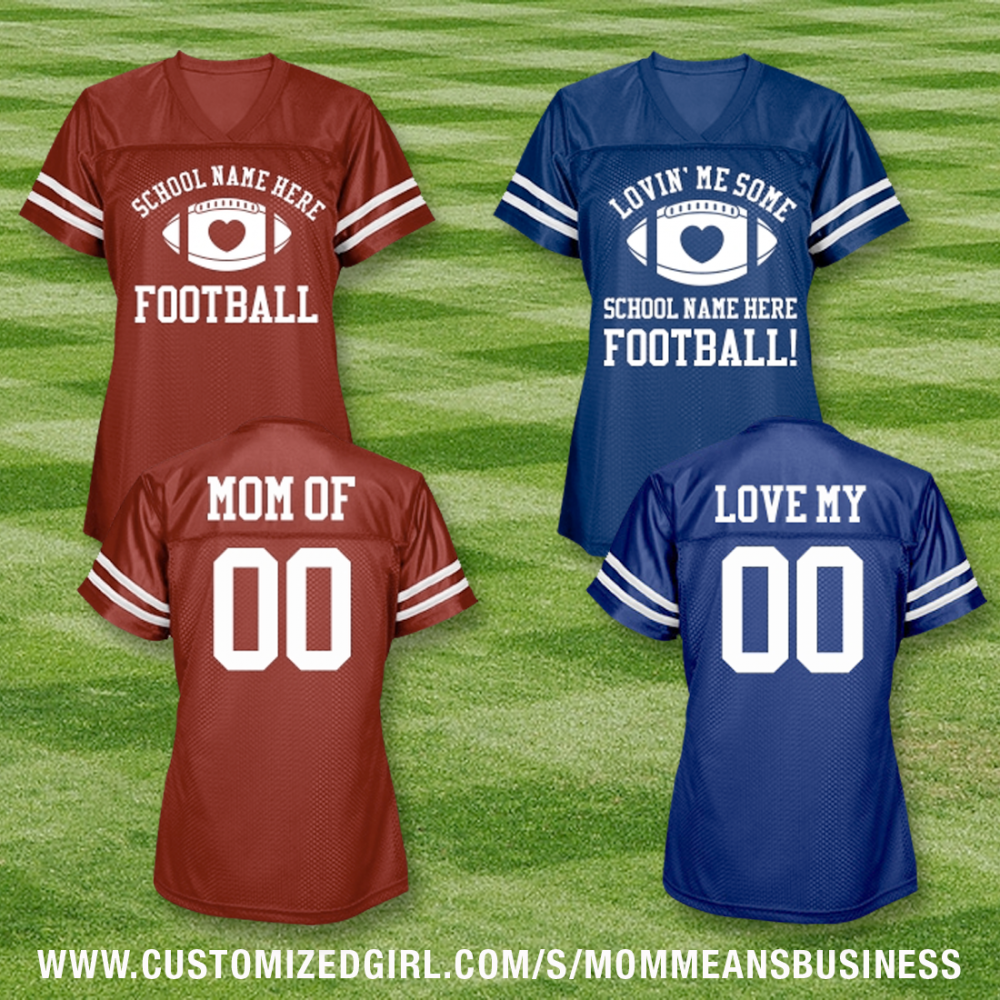 Custom School Name Football Mom Love Jerseys With Back