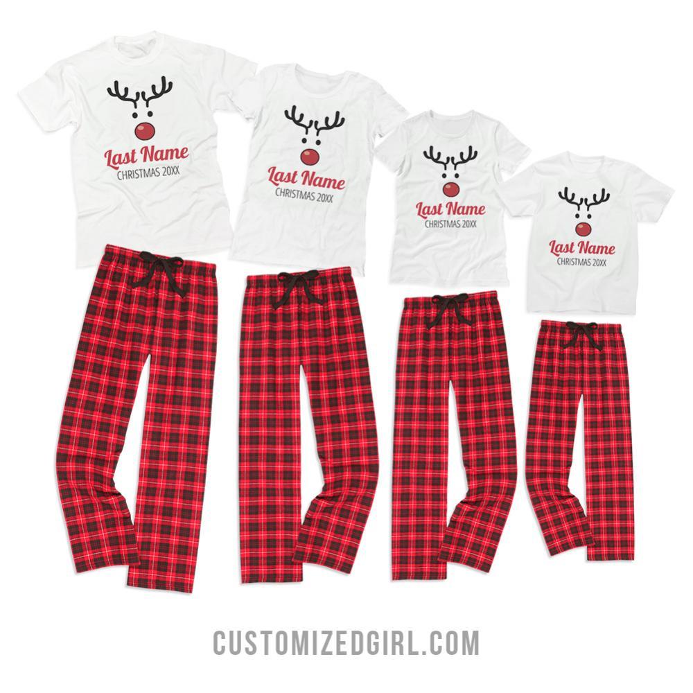 Matching Rudolph Xmas Pajamas