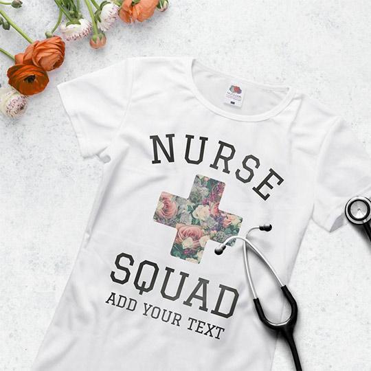 Custom Floral Nurse Squad Tee