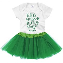 Little Miss Lucky Charm St. Patrick's Day Onesie & Tutu