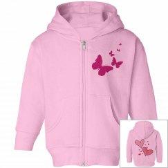 Toddler Love Pink Girls Hoodie