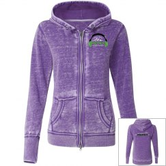Juniors Purple Vintage Zip-Up Hoodie