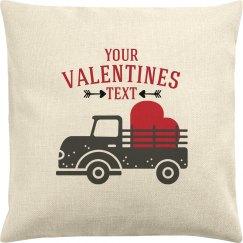 Valentine Text Truck Pillow