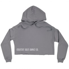 Gray Cropped Fleece Hoodie
