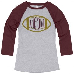 Football Mom Monogram Raglan