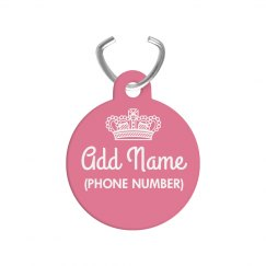 Custom Pet Name Pink Princess Tag