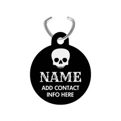 Black Skull Customizable Pet ID Tag