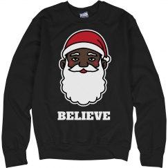 Believe In Black Santa Sweater