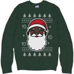 Christmas Cheer Black Santa Sweater