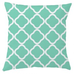 Waterleaf Green And White Quatrefoil Throw Pillow Cover