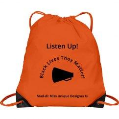 Listen Up BLM Horn Drawstring Bag