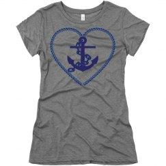 Navy Nautical Heart Anchor