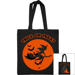 Witch & Black Cat Trick Or Treat Bag