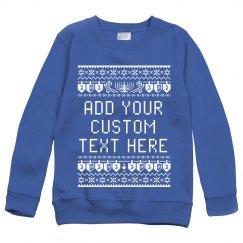 Custom Text Hanukkah Ugly Sweater