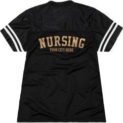 Blue Metallic Custom Nursing Jersey