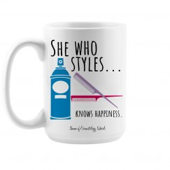 She Who Styles Knows Happiness Coffee Mug - Cosmetology