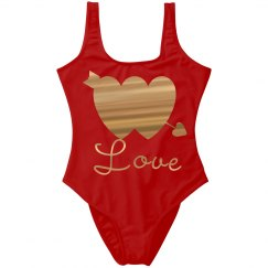 Gold Metallic Double Hearts w/Arrow Love