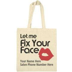 Let me Fix Your Face salon advertisement tote bag